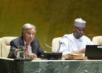 Le Sg, Guterres et le président Tijjani à l'ouverture de la 74e AG. photo: ONU/Kim Haughton