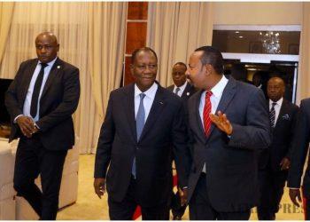 Le président Ouattara accueilli par le PM Ethiopien à son arrivée hier vendredi 7 février 2020 à Addis