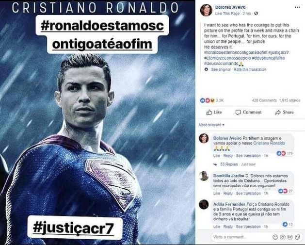 """Cristiano Ronaldo: sa famille lance la campagne """"Justice pour CR7"""""""