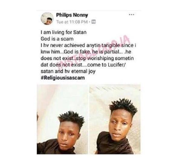 Un Nigérian explique pourquoi il rejette Dieu pour Satan
