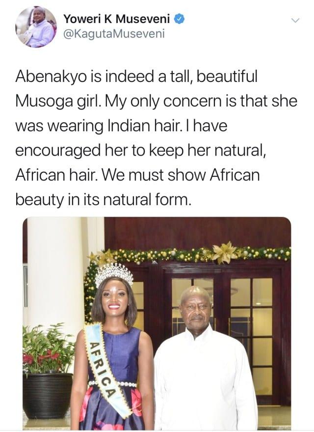 Ouganda: Le président demande à une Miss d'arrêter de porter de «faux» cheveux