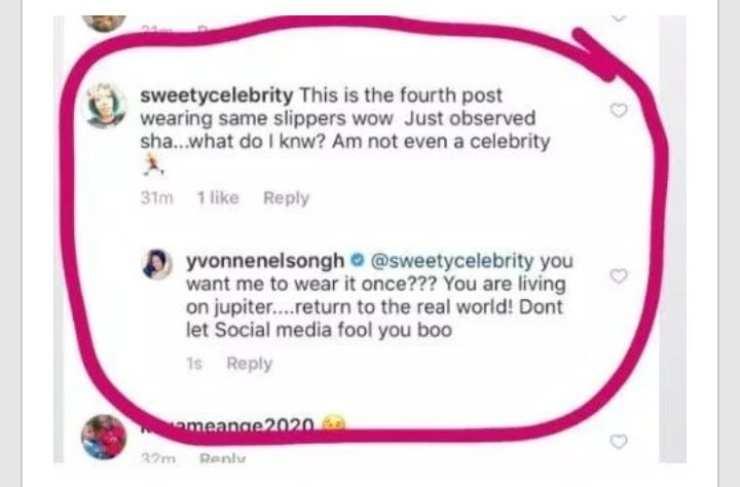 Yvonne Nelson: un fan 'l'accuse' d'avoir porté la même chaussure 4 fois...elle répond!