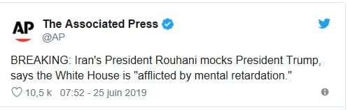 """Donald Trump suffers from a """"mental retardation"""" according to the President of Iran"""