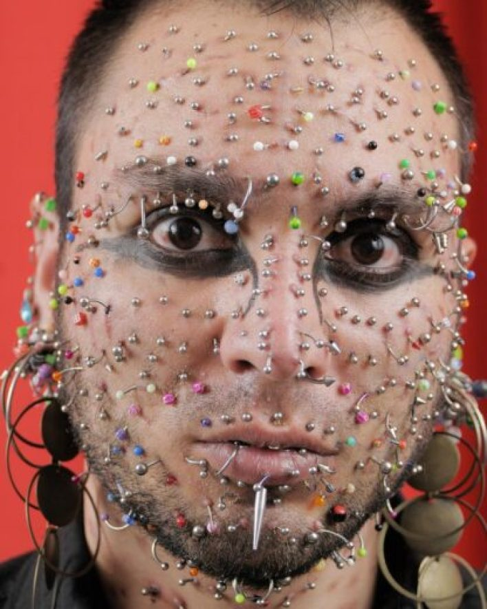 Weird: Axel Rosales, who has 280 piercings in his face