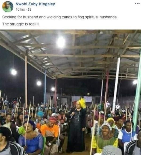 """Women attend church with sticks to flog """"spiritual husbands"""""""