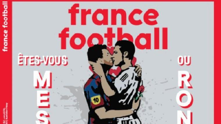 Photo of France Football publishes a picture of Messi and Ronaldo kissing