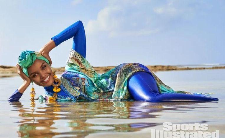 Photo of First model in burkini on cover of Sports Illustrated