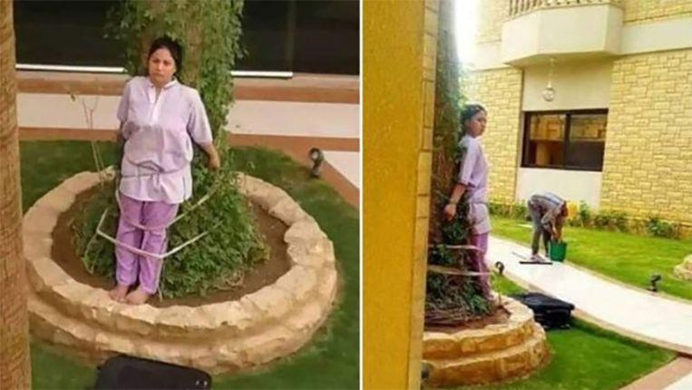 Photo of Saudi ties Filipino housemaid to tree as punishment