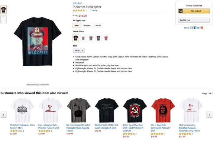 Amazon under fire again: T-shirts Chilean 'death flights' for sale