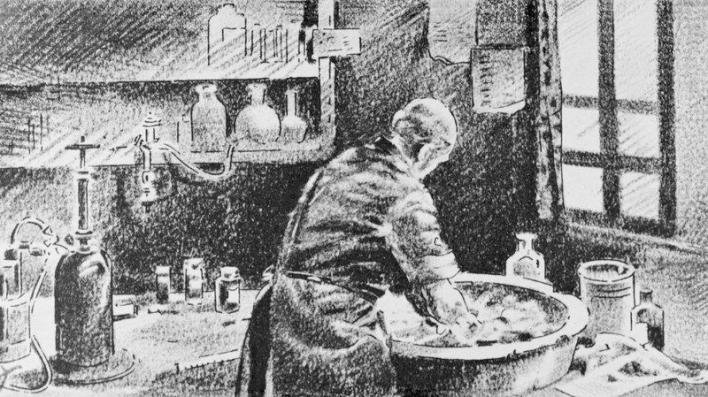 Ignaz Semmelweis washing his hands in chlorinated lime water before operating.