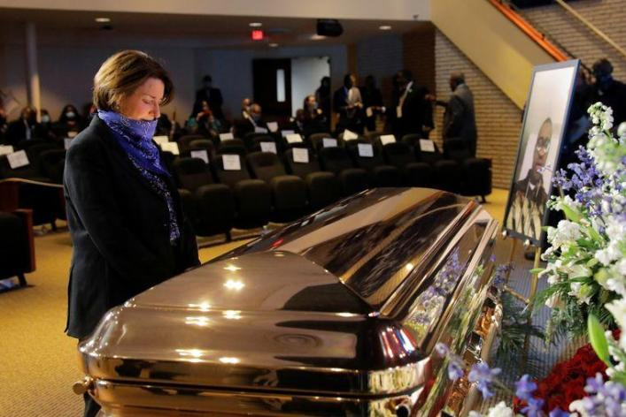 Celebrities and politicians flock to George Floyd memorial