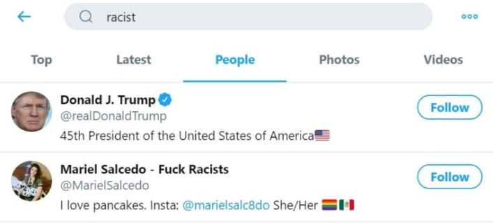 Donald Trump appears first on search result for 'racist' on Twitter