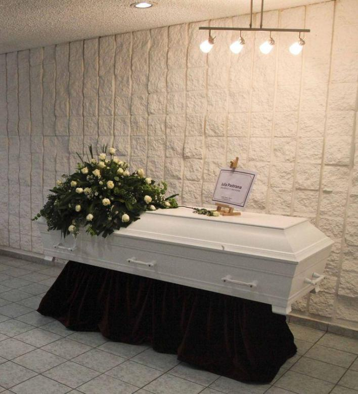 Julia Pastrana's coffin at Cualiacan Airport, Mexico.