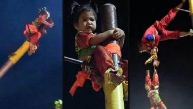 Photo of Toddler tied to a pole and catapulted 9 meters into the air