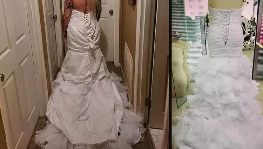 """""""You put the dress inside out"""": bride criticizes ordered wedding dress but fluttering herself"""