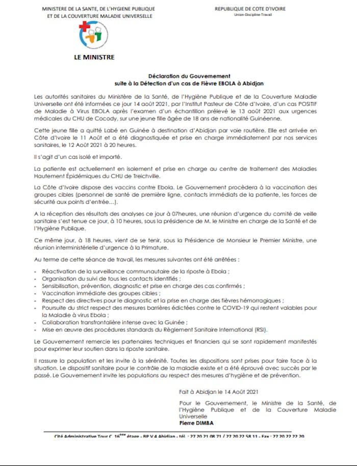 EBOLA%20jpg 1er cas d'Ebola en Côte d'Ivoire : La riposte du gouvernement ivoirien