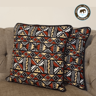 set of 2 african mud cloth print brown cushion covers