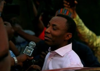 Former presidential candidate Omoyele Sowore talks to the media after being released on bail by Nigeria's government, in Abuja, Nigeria December 24, 2019. REUTERS/Afolabi Sotunde