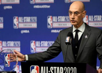 (FILES) In this file photo taken on February 14, 2020 NBA Commissioner Adam Silver speaks to the media during a press conference at the United Center in Chicago, Illinois. – On April 6, NBA Commissioner Adam Silver says he thinks it will be at least May before any decision can be made about the resumption of the 2019-20 season that was shut down amid the coronavirus pandemic. (Photo by Stacy Revere / GETTY IMAGES NORTH AMERICA / AFP)