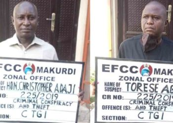 Benue State House of Assembly deputy speaker Christopher Adaji and the clerk Torese Agena were arraigned before Justice S. O. Itodo of the Benue State High Court, Makurdi. PHOTO: EFCC
