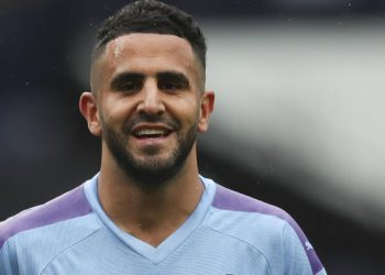Manchester City's Algerian midfielder Riyad Mahrez celebrates scoring their second goal during the English Premier League football match between Manchester City and Newcastle United at the Etihad Stadium in Manchester, north west England, on July 8, 2020. (Photo by LEE SMITH / POOL / AFP) /