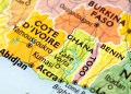 Map of Benin, Ghana, Togo, Cote D'ivoire. A detail from the World Map provided by RAND McNALLY.
