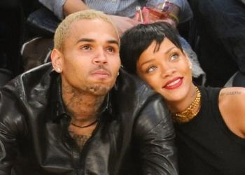 Reconciled … Chris Brown and Rihanna at a basketball game in 2012. Photograph: Noel Vasquez/Getty Images