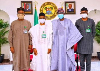 Lagos State Governor Babajide Sanwo-Olu (second right); his Kaduna State counterpart, Nasir el-Rufai (second left) and his aides, Jimi Lawal (left) and Muyiwa Adekeye (right) during el-Rufai's visit to Sanwo-Olu in Lagos…yesterday