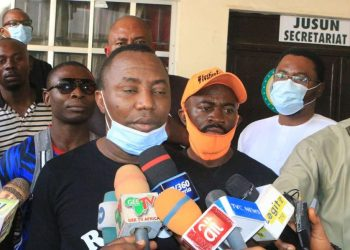 Human rights activist, Omoyele Sowore and four others being charged with criminal conspiracy and unlawful assemblybefore a magistrate's court in Abuja… yesterday. PHOTO: LUCY LADIDI ATEKO