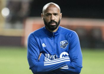 (FILES) In this file photo taken on February 18, 2020, coach of Canadian team Montreal Impact, Frenchman Thierry Henry, watches a training session at the Ricardo Saprissa Stadium in San Jose. – (Photo by Ezequiel BECERRA / AFP)