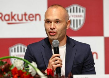 This handout picture released from Japanese professional football club Vissel Kobe on May 11, 2021 shows Vissel Kobe player Andres Iniesta speaking at a press conference in Tokyo. (Photo by Handout / VISSEL KOBE / AFP) /