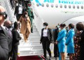 President Samia Suluhu of Tanzania during her arrival at the JKIA, Kenya on Tuesday for a two-day official visit. Image: PSCU