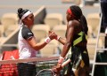 PARIS, FRANCE - JUNE 07: Coco Gauff of The United States is congratulated on victory by Ons Jabeur of Tunisia following their ladies singles fourth round match during day nine of the 2021 French Open at Roland Garros on June 07, 2021 in Paris, France. (Photo by Clive Brunskill/Getty Images)