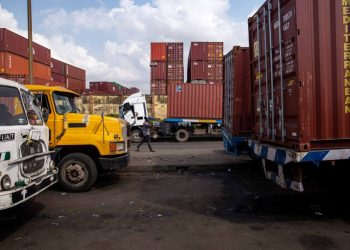 Trucks parked on the road side waiting to get access into Tincan port in Apapa, Lagos. (Photo by Benson Ibeabuchi / AFP)