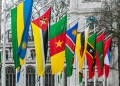 Commonwealth flags in Parliament Square London
