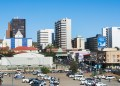 Windhoek Namibia, Africa, modern skyline with skyscrapers and downtown a clean Capitol city (Photo by: Education Images/Universal Images Group via Getty Images)