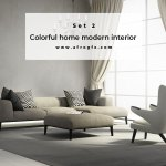 Colorful home modern interior Set 2 Stock Photo