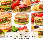 Appetizing Fast food Mix 6 Stock Photo