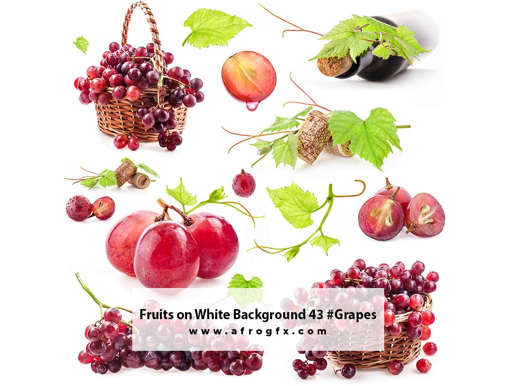 Fruits on White Background 43 #Grapes