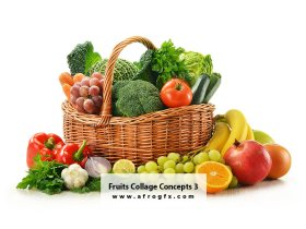 Fruits and Vegetables Collage Concepts 3 Stock Photo