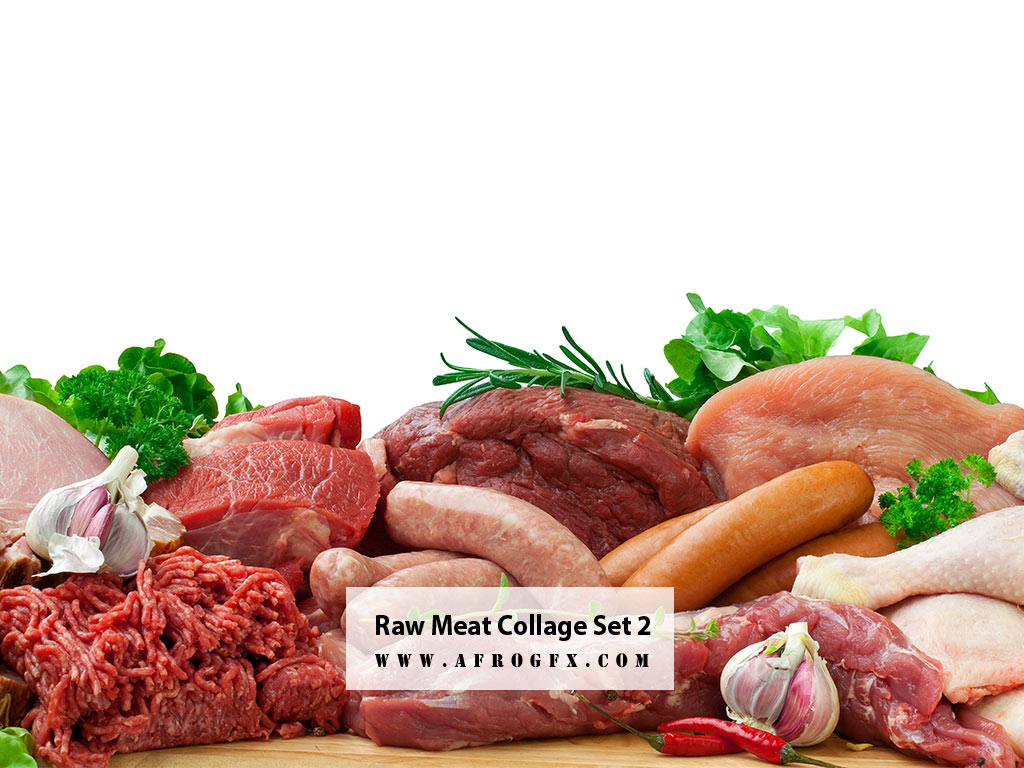 Raw Meat Collage Set 2