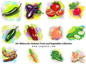 44+ Watercolor Autumn Fruits and Vegetables Collection
