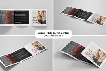 Free Square Trifold Leaflet Brochure Mockup (PSD)
