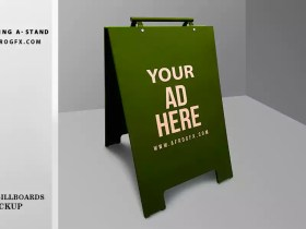 Free Outdoor Advertising A-Stand (Sign, Billboard) Mockup PSD royalty free photos free download