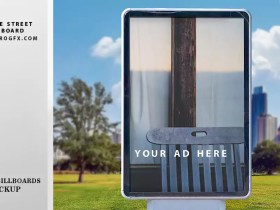 Free landscape Outdoor Advertising Square Street Billboard Mockup PSD great stock photography