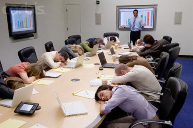 entrepreneur meeting sleeping