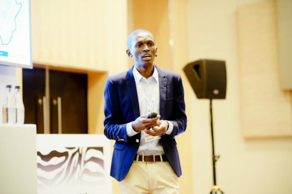 CEO of Kocela, Abel Msai pitching at the African FinTech Awards