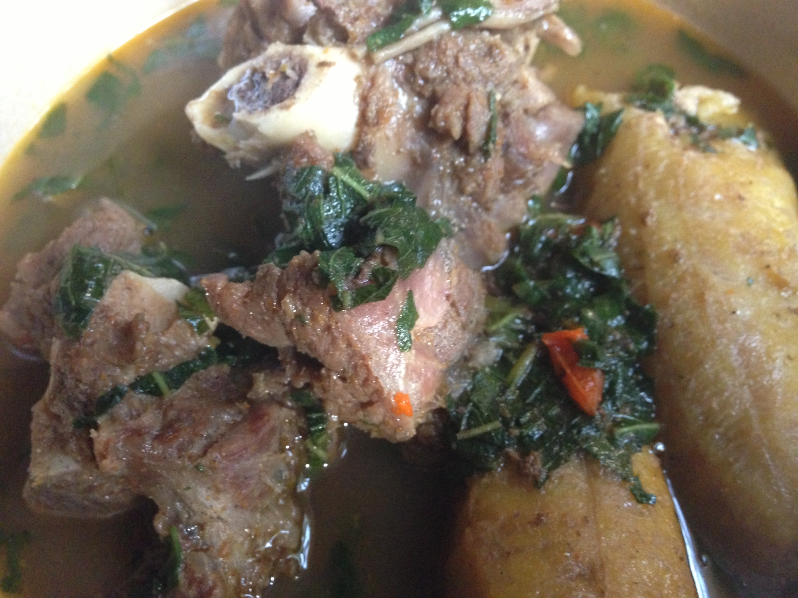 Goat Meat Pepper Soup with Boiled Plantain - Afrolems Nigerian Food Blog