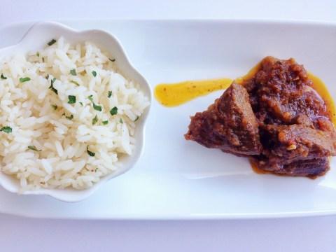 ayamase stew and white rice