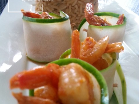 coconut rice and tiger prawns